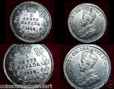 1920 Canada Beautiful SILVER Coin Five  CENTS