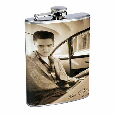 Elvis Presley Photo In Car D267 Flask 8oz Stainless Steel Black and White