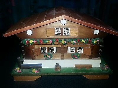 Vintage Wood Jewelry Box House With Music Box With Ballerina Made in Japan