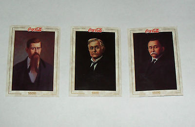 Set of Three Founding Men of Coca Cola Collector/Trading Cards 1886+1891