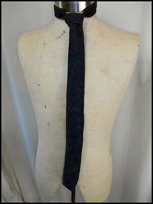 Vintage Charcoal Grey Patterned Underwood Cotton Neck Tie New Wave Punk