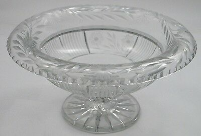 American Brilliant Period Cut Glass rolled over footed bowl Antique Signed Fry