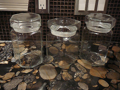 3 ARCOROC OCTIME CLEAR GLASS SUGAR,FLOUR,COFFEE,TEA CANISTERS JARS RARE SQUARE