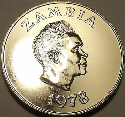 Rare Proof Zambia 1978 5 Ngwee~Morning Glory~Low Mintage 24,000~Free Ship