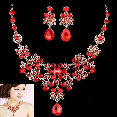 Bridal Wedding Party Prom Red Rhinestone Crystal Necklace Earrings Jewelry Sets