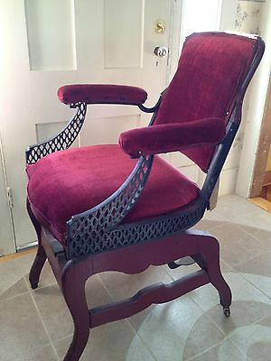 Antique Archer Barber Chair with foot rest wood cast iron reclining