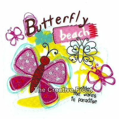 Butterfly Beach - DIY Iron On Glitter T-Shirt Heat Transfer - NEW