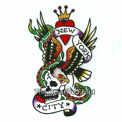 NEW YORK CITY EAGLE SKULL - DIY Iron On Glitter T-Shirt Heat Transfer - NEW