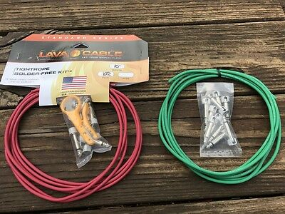 LAVA Solder-Free XL Pedalboard Kit 20ft Cable 20 Right Angle Plugs RED & GREEN