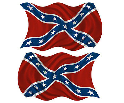 "Confederate Rebel Waving Flag Decal American Vinyl sticker 4"" set of 2"