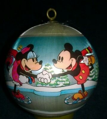 Vintage Hallmark Satin Wrapped 1980 Mickey and Minnie Mouse Ball Ornament