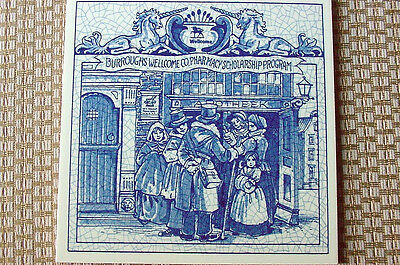 Delft Holland Burroughs Wellcome Blue on White Tile The Apothecary Gathering