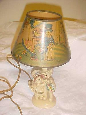 VINTAGE CHALKWARE LAMP WITH MATCHING SHADE