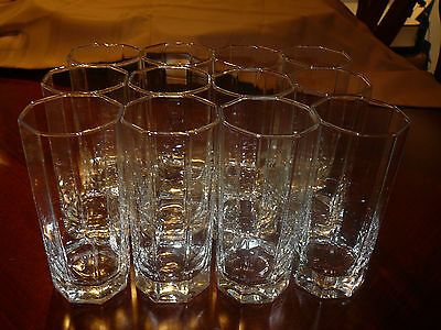 SCARCE 12 ARCOROC FRANCE OCTIME CLEAR 12 oz HIGHBALL/COCKTAIL/WATER GLASSES