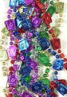 3 Dozen (36) Casino Cards & Dice Mardi Gras Beads Necklaces-Party-Free Shipping