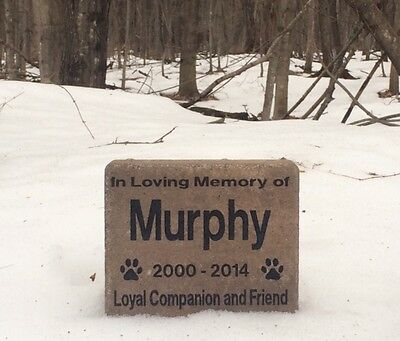 Personalized Dog / Cat Memorial Grave Stone Deeply Engraved Extra Thick Stone