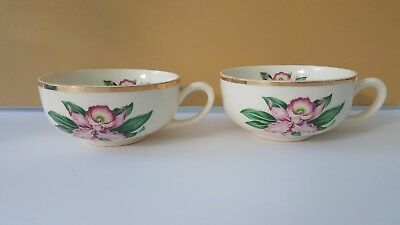 MODERN ORCHID Flat Cup (s) Paden City Pottery Pink Orchid Gold Rim