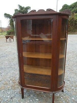 antique solid oak bow front china cabinet ~ late 1800s or