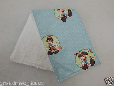 Pinocchio Burp Cloth - 1 Only Toweling Back GREAT GIFT IDEA!!