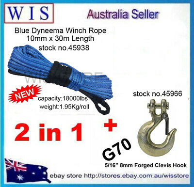 Dyneema Winch Rope Synthetic Cable 10mm x 30m&G70 Clevis Slip Hook with Latch
