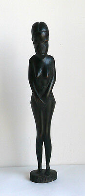 Vintage African Goddess Woman Hand Carved Wood Statue Figurine