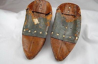 Antique Vtg Child's Hand Cobbled Made Leather Shoes 19th Century 1880 Primitive
