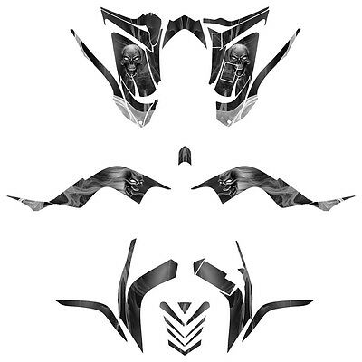 Raptor 700 graphics 2006 -2012 deco sticker kit #6666 Metal Skull Full coverage