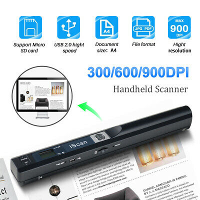 iSCAN Handheld Portable Digital 900dpi Scanner Document Book Photo A4 Handyscan