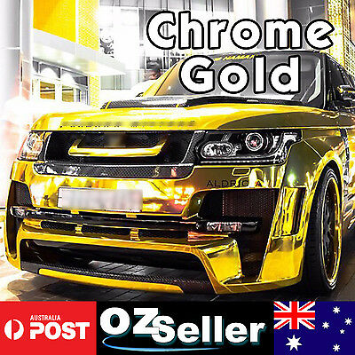 1.51m x 30cm Gloss Gold Chrome Mirror Vinyl Car Wrap Air Bubble Free Sheet Film