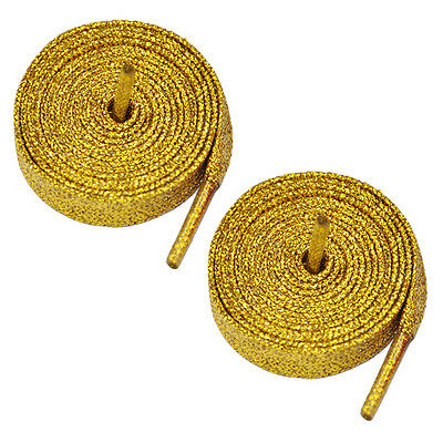 """5x Gift 47"""" Glitter S6at Coloured Shoelaces Boot Laces Sport Dance -Gold S6"""