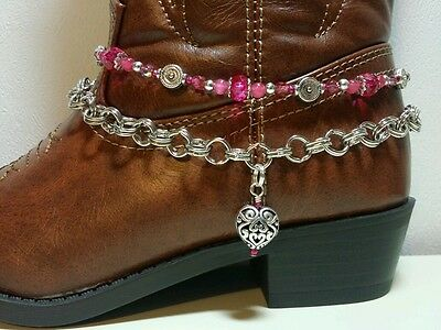 Boot Bling Anklet Chain Bracelet Jewelry Fuschia Hot Pink Heart Little Girl's