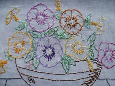 Pansy Bowls ~ Vintage Hand Embroidered Runner/Scarf