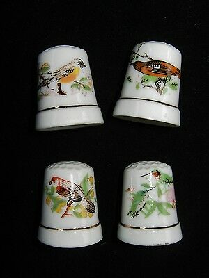 Lot of 4 Vintage Ceramic Thimbles w/ Pictures of Birds Collectible