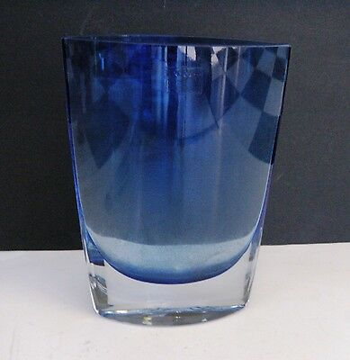 HANDCRAFTED MOUTHBLOWN BLUE ART GLASS VASE LSA International Made in POLLAND