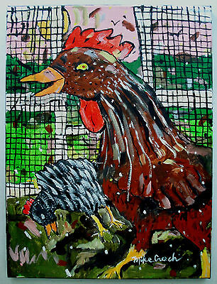 """""""ALL COOPED UP"""" fun original Folk Art chicken painting by Mike Creech 12x16"""