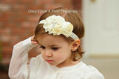 Ivory Satin Flower Headband Baby Hair Bow Cross Hairbow Baptism Christening