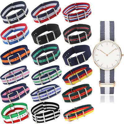 18/20/22mm Military Nylon Wrist Watch Band Strap Watch Stainless Steel Buckle