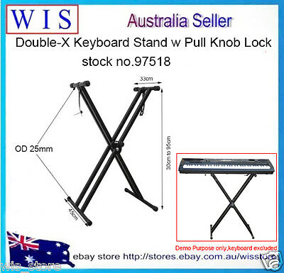 Double-Braced Adjustable X-Style Keyboard Stand w Locking Strap,200lb Load-97518