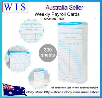 300 sheets Weekly Payroll Cards Employee Time Attendance Clock Recorder-98609
