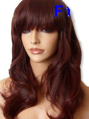 Red Brown Wig Fashion medium natural full hair wig party Ladies Lady Wig F18