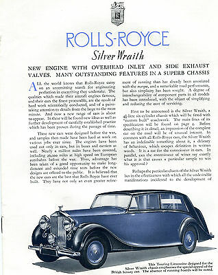 1946 Rolls-Royce Silver Wraith Autocar Article Company Reprint