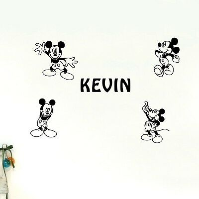 Custom Personalised Name Mickey Mouse Wall Stickers Removable Nursery Decor Art