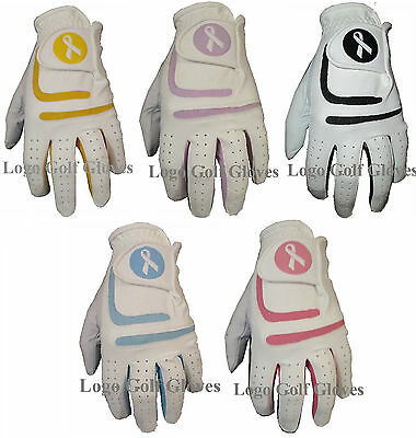 5 Cabretta Leather Golf Gloves 4 Ladies Ribbon Coloured Lycra Small Medium Large