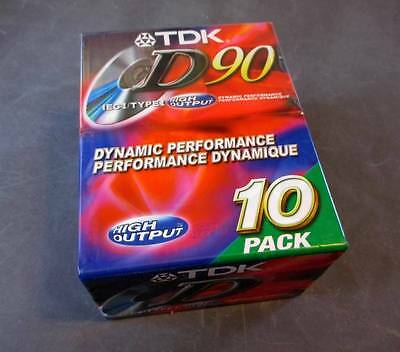 10 TDK D90 Cassette Tapes 90 Minute - High Output Type I - NEW SEALED 10 Pack
