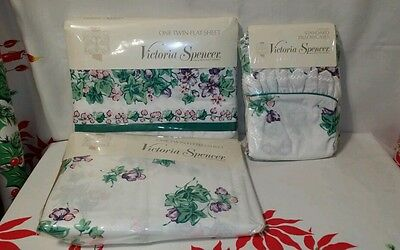 Vintage Victoria Spencer 50% Combed Cotton 50 Polyester Twin Sheet Set Ivy  NIP