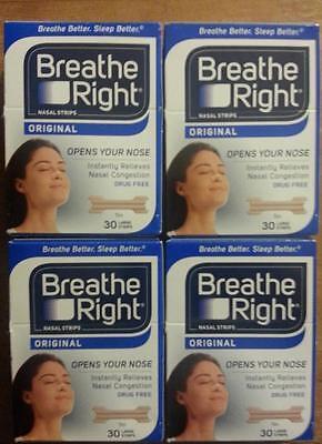 120 Breathe Right Nasal Strips, Large Tan (New In Factory Sealed Boxes) W.w Ship