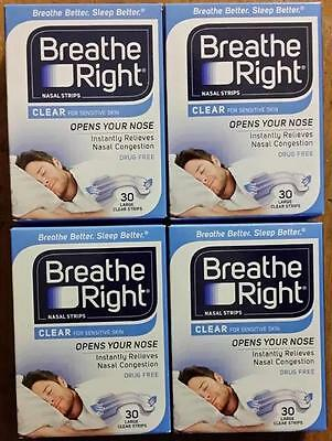 120 Breathe Right Nasal Strips, Large Clear ( 4 Factory Sealed Boxes) W.w. Ship