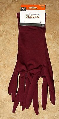 Adult Burgundy TREE FINGER GLOVES Halloween Witch Cosutme NEW On Card