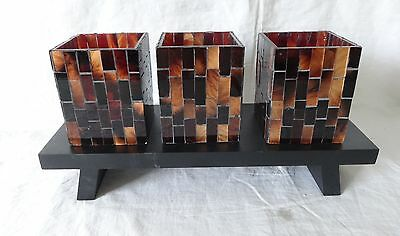 Partylite global Ambiance Minis 3 mosaic cups 4 inch high with Woodbase
