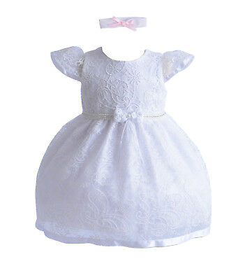 Girls Lace Christening Party Dress and Headband White Ivory 0 3 6 12 18 24 Month